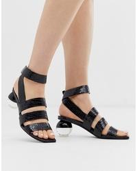 schwarze Leder Sandaletten von Jeffrey Campbell