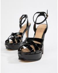 schwarze Leder Sandaletten von Lipsy
