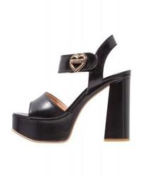schwarze Leder Sandaletten von Moschino