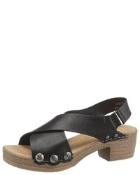 schwarze Leder Sandaletten von Rieker