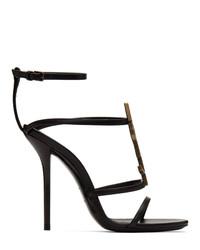 schwarze Leder Sandaletten von Saint Laurent