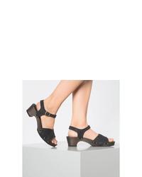 schwarze Leder Sandaletten von Sanita