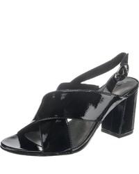 schwarze Leder Sandaletten von Tamaris