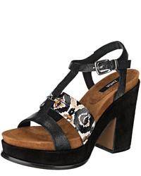 schwarze Leder Sandaletten von Zinda