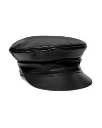 schwarze Leder Schiebermütze von Lack of Color