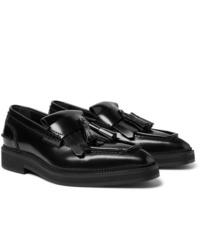 schwarze Leder Slipper mit Quasten von Alexander McQueen