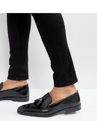 schwarze Leder Slipper mit Quasten von ASOS DESIGN