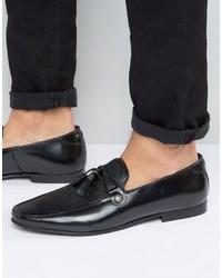 schwarze Leder Slipper mit Quasten von Asos