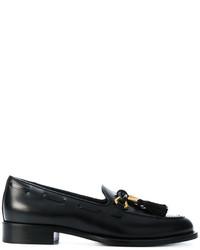 schwarze Leder Slipper mit Quasten von Giuseppe Zanotti Design