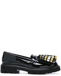 Schwarze Leder Slipper mit Quasten von MSGM