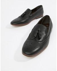 schwarze Leder Slipper mit Quasten von New Look