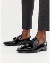 schwarze Leder Slipper mit Quasten von Office