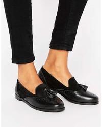 schwarze Leder Slipper mit Quasten von Park Lane