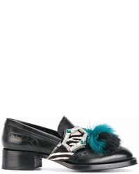schwarze Leder Slipper mit Quasten von Prada
