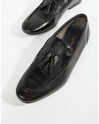 schwarze Leder Slipper mit Quasten von Silver Street