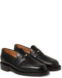 schwarze Leder Slipper