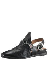schwarze Leder Slipper von A.S.98