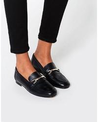 Schwarze Leder Slipper von Asos