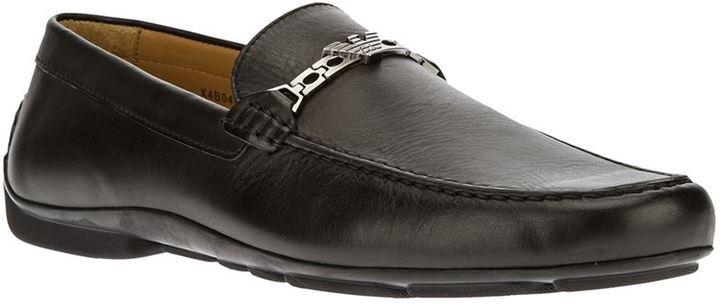409821c61914 schwarze Leder Slipper von Emporio Armani   Wo zu kaufen und wie zu ...