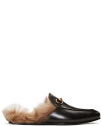 schwarze Leder Slipper von Gucci