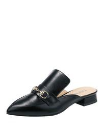schwarze Leder Slipper von Heine