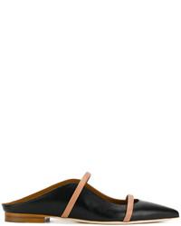 schwarze Leder Slipper von Malone Souliers