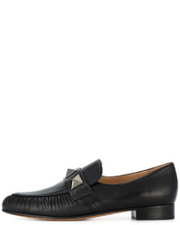 schwarze Leder Slipper von Valentino