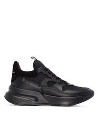 schwarze Leder Sportschuhe von Alexander McQueen