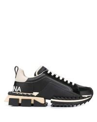schwarze Leder Sportschuhe von Dolce & Gabbana