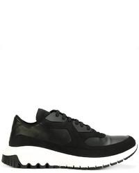 schwarze Leder Sportschuhe von Neil Barrett