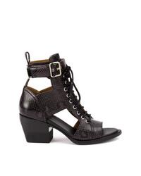 schwarze Leder Stiefeletten mit Ausschnitten von Chloé