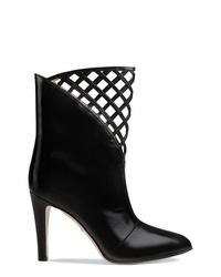 schwarze Leder Stiefeletten mit Ausschnitten von Gucci