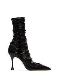 schwarze Leder Stiefeletten mit Ausschnitten von Liudmila