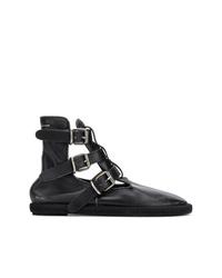 schwarze Leder Stiefeletten mit Ausschnitten von MM6 MAISON MARGIELA
