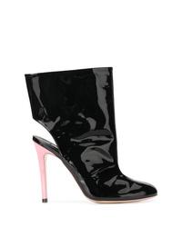 schwarze Leder Stiefeletten mit Ausschnitten von Natasha Zinko