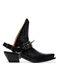 schwarze Leder Stiefeletten mit Ausschnitten von R13