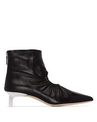 schwarze Leder Stiefeletten mit Ausschnitten von Rejina Pyo