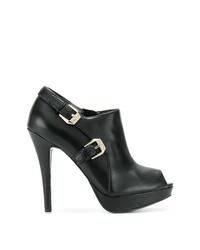 schwarze Leder Stiefeletten mit Ausschnitten von Versace Jeans