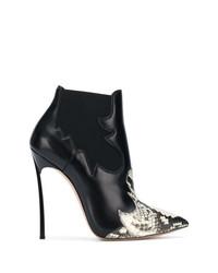 schwarze Leder Stiefeletten mit Schlangenmuster von Casadei