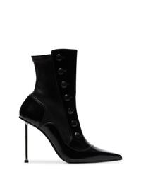 schwarze Leder Stiefeletten von Alexander McQueen