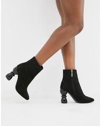 schwarze Leder Stiefeletten von ASOS DESIGN