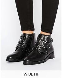 schwarze Leder Stiefeletten von Asos