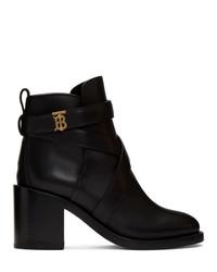 schwarze Leder Stiefeletten von Burberry