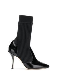 schwarze Leder Stiefeletten von Dolce & Gabbana