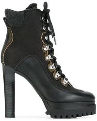 schwarze Leder Stiefeletten von Dsquared2