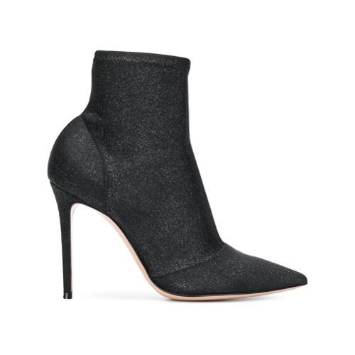 schwarze Leder Stiefeletten von Gianvito Rossi