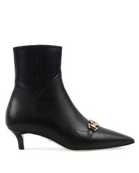 schwarze Leder Stiefeletten von Gucci