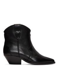 schwarze Leder Stiefeletten von Isabel Marant