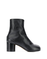 schwarze Leder Stiefeletten von Maison Margiela