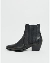 schwarze Leder Stiefeletten von Mango